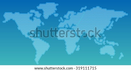 Hexagon shape world map.Abstract background - stock vector