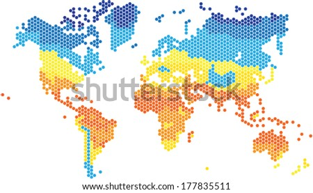 Hexagon shape world map various colors stock photo photo vector hexagon shape world map in various colors by temperature gumiabroncs Gallery