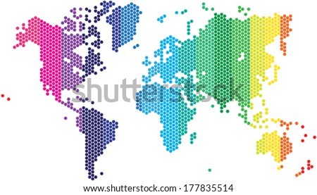 Hexagon shape world map various spectrum vector de stock177835514 hexagon shape world map in various spectrum colors gumiabroncs Images