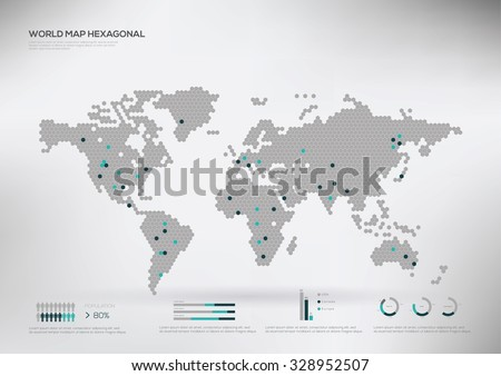 hexagon shape world map infographic vector illustration