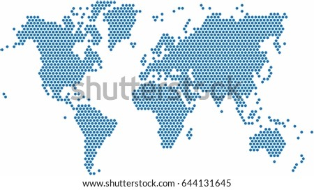 Blue dots world map on white vectores en stock 341699687 shutterstock hexagon shape world map on white background vector illustration gumiabroncs Choice Image
