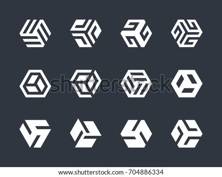 Hexagon Shaped Logo Design Elements Abstract Stock Vector 704886334