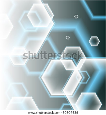 Hexagon Shapes on Colorful Abstract Background Original Illustration