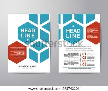 Hexagonal brochure flyer design layout template in A4 size, with bleed, vector eps10. - stock vector
