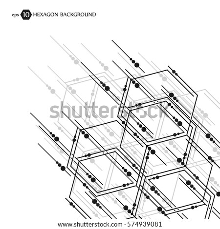Hexagonal business pattern. Scientific medical research. Hexagons structure lattice. Geometric abstract background. Chemistry, science and technology concept. Vector illustration