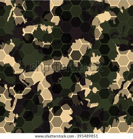 Hexagonal camouflage.Vector digital hexagon camo seamless pattern - stock vector