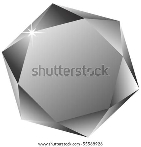 hexagonal diamond against white background, abstract vector art illustration - stock vector