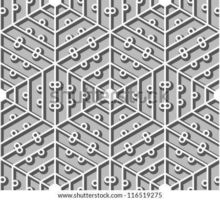 Hexagonal lacy lattice with shadow, seamless vector pattern - stock vector