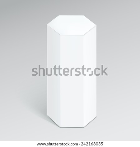 hexagonal modern box isolated over grey background