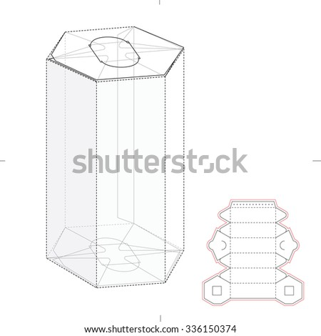 hexagonal tube box die cut template stock vector 336150374 shutterstock. Black Bedroom Furniture Sets. Home Design Ideas