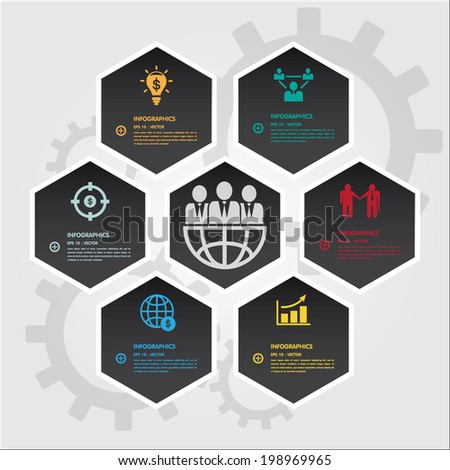 Hexagons group modern business template. Can use for banner promotion. Brochure object. group diagram. clean and clear modern style.  - stock vector