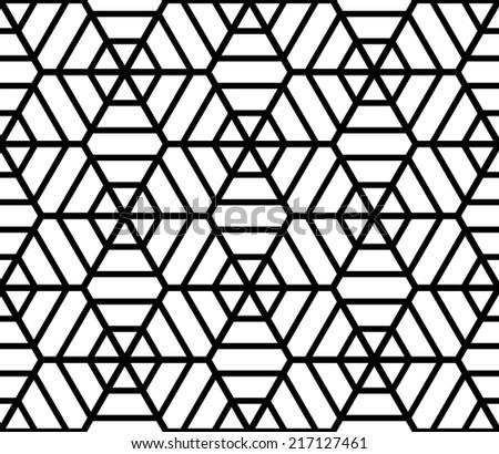 Hexagons latticed texture. Seamless geometric pattern. Vector art. - stock vector