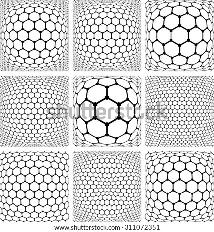 Hexagons patterns. Abstract geometric backgrounds set. Vector art. - stock vector