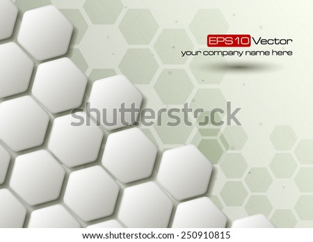 Hexagons technology and communication background. Vector illustration - stock vector