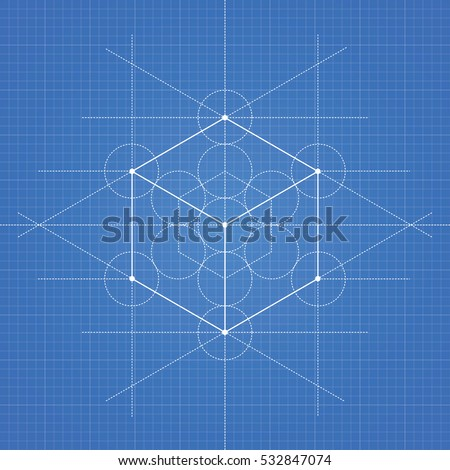 Hexahedron vector illustration hexahedron on blueprint stock vector hexahedron a vector illustration of hexahedron on blueprint technical paper background malvernweather Gallery