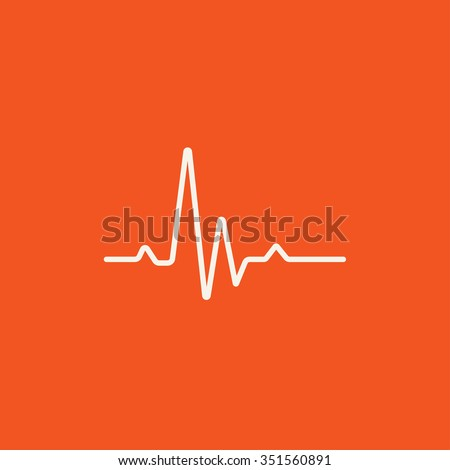 Hheart beat cardiogram line icon for web, mobile and infographics. Vector white icon isolated on red background. - stock vector