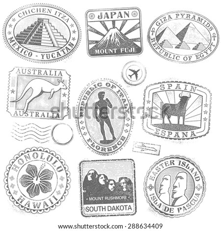Hi detail collection of monument and culture icon stamps from all over the world - stock vector