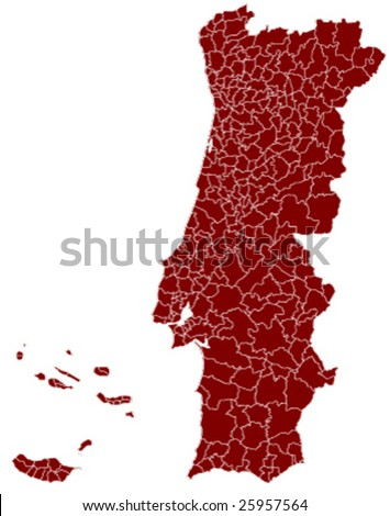 hi detailed map of portugal - stock vector