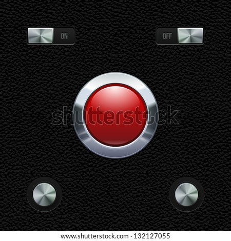 Hi-End UI Analog Red Button Chrome On Leather Background. Metal Button, Switchers, On, Off. Web Design Elements. Software Controls. Vector User Interface EPS10 - stock vector