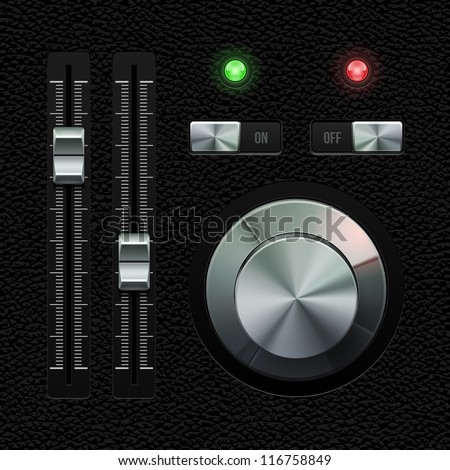 Hi-End UI Analog Volume Equalizer Level Mixer, Volume Knob Chrome On Leather Background. Metal Switch Button, Lamp, Bulb. Web Design Elements. Software Controls. Vector User Interface EPS10 - stock vector