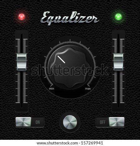 Hi-End UI Analog Volume Equalizer Level Mixer, Volume Plastic Knob Chrome On Leather Background. Metal Switch Button, Lamp, Bulb. Web Design Elements. Software Controls. Vector User Interface EPS10  - stock vector