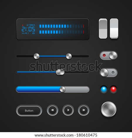 Hi-End User Interface Elements: Buttons, Switchers, On, Off, Player, Audio, Video: Play, Stop, Next, Pause, Volume, Equalizer, Power, Screen, Track, Slider, Progress Bar