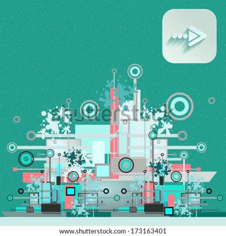 Hi-tech background with navigation icon. Vector illustration.