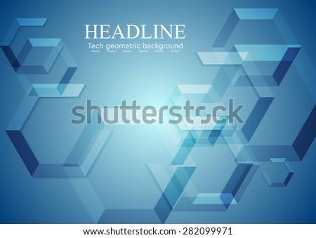 Hi-tech blue geometric background. Vector design - stock vector
