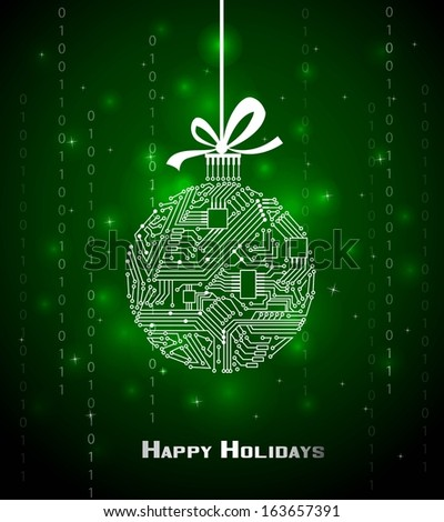 Hi-tech Christmas ball on green background, from a digital electronic circuit  - stock vector