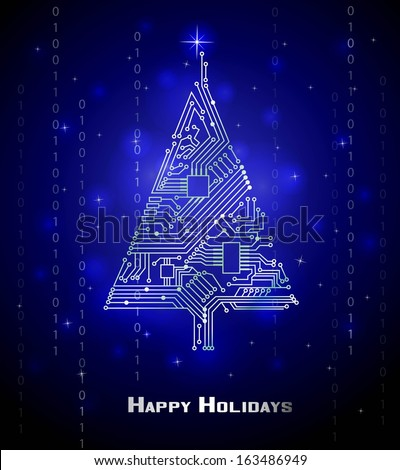 Hi-tech Christmas tree from a digital electronic circuit  - stock vector
