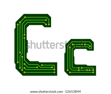 Hi-tech circuit board alphabet. Letter C - stock vector