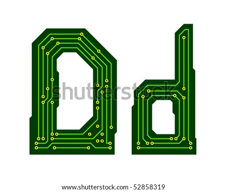 Hi-tech circuit board alphabet. Letter D - stock vector