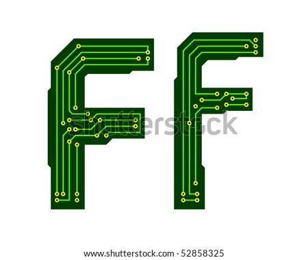 Hi-tech circuit board alphabet. Letter F - stock vector