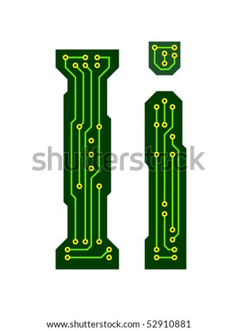 Hi-tech circuit board alphabet. Letter I - stock vector