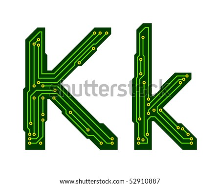 Hi-tech circuit board alphabet. Letter K - stock vector
