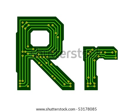 Hi-tech circuit board alphabet. Letter R - stock vector