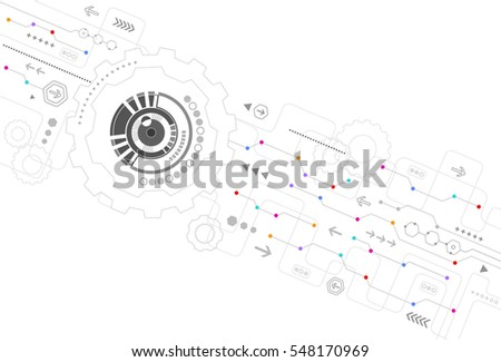 Hi-tech computer digital technology concept.circle for your design on light gray color background. Vector illustrator