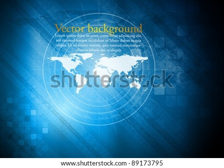 Hi-tech design with world map. Eps 10 vector illustration