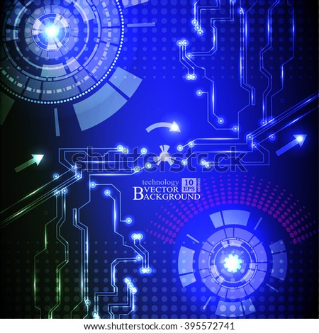 Hi-tech digital technology and engineering, digital telecoms technology concept, Abstract futuristic- technology on blue color background.Vector - stock vector