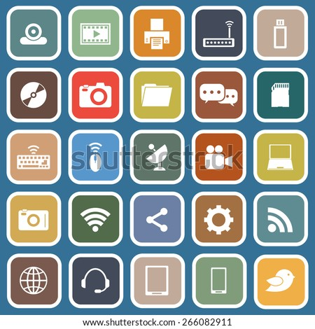 Hi-tech flat icons on blue background, stock vector - stock vector