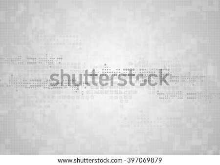 Hi-tech geometric grey abstract background. Vector graphic technology design with squares and circles - stock vector