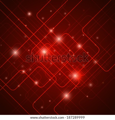 Hi tech signals in wires, abstract technology red vector background - stock vector