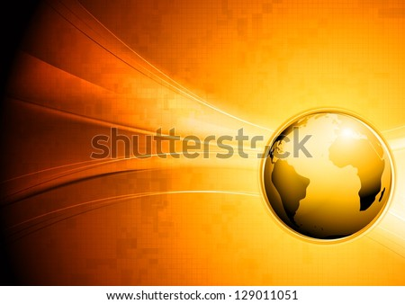 Hi-tech wavy background with globe. Vector design eps 10 - stock vector
