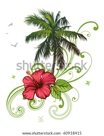 Hibiscus and palm - stock vector