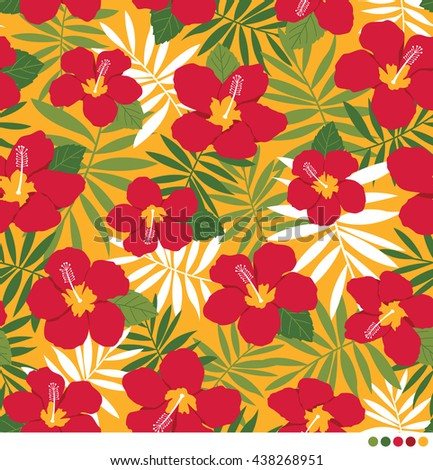 Hibiscus and palm leaf seamless vector pattern