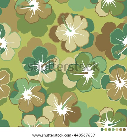 Hibiscus camouflage pattern vector background