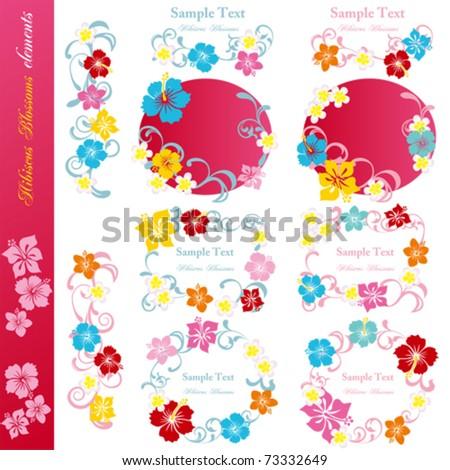Hibiscus design elements set. Illustration vector. - stock vector