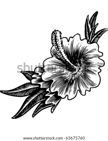 Hibiscus Flower - Retro Clipart Illustration - stock vector