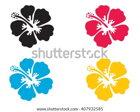 Hibiscus flower. Vector illustration. Hibiscus icon in 4 colors - blue, black, red and yellow. Summer tropical flower symbol