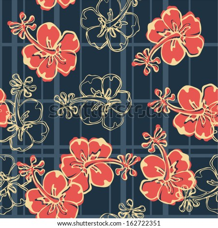 Hibiscus flowers wallpaper - Vector seamless pattern with hibiscus and tartan plaid texture  - stock vector